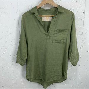 Bella Dahl Medium Soft Army Shirttail Linen Blouse